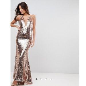 ASOS Sequin Fishtail Prom/Maxi Dress